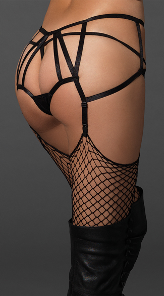 Crotchless Cage Garter Panty