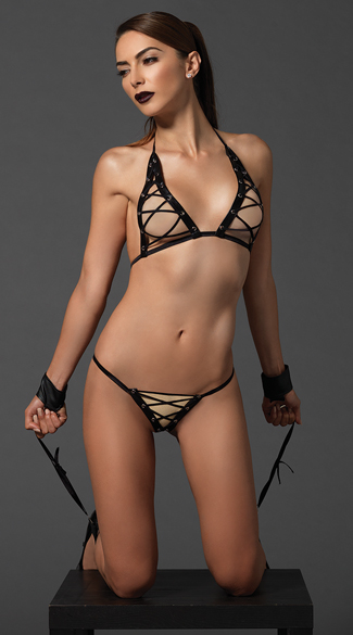 Lace-Up Bondage Bra Set, Bondage Set, Bondage Bra Set
