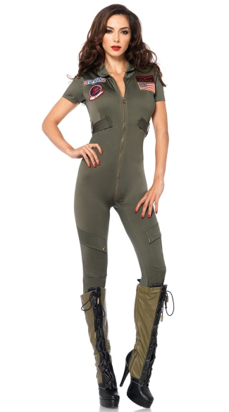 Sexy Top Gun Flight Suit Costume, Top Gun Jumpsuit Costume, Womens Top Gun Costume