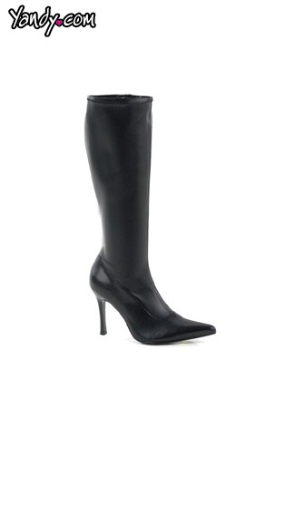 "3 3/4"" Heel Black Stretch Knee High Boot"