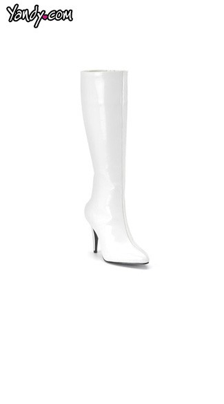 "3 3/4"" Heel White Stretch Knee High Boot, Sexy Black Stretch Knee High Boot"