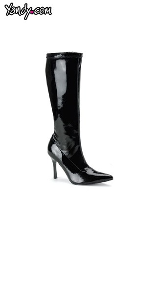 "3 3/4"" Heel Stretch Knee Boot, Sexy Black Patent Knee Boot"