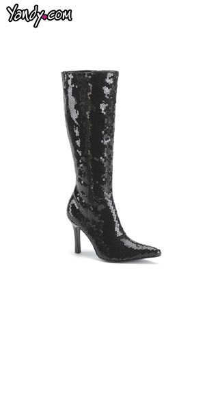 "3 3/4"" Heel Black Sequin Stretch Knee High Boot, Sexy Black Stretch Knee High Boot"