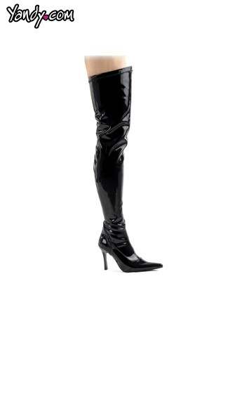 LUST-3000, Sexy 3 3/4 Inch Black Thigh High Boots, LUST3000/B