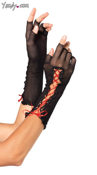 Lace Up Fishnet Fingerless Gloves