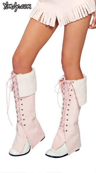 Lace-Up Moccasin leg warmers, Indian Moccasin leg warmers for Halloween Costumes