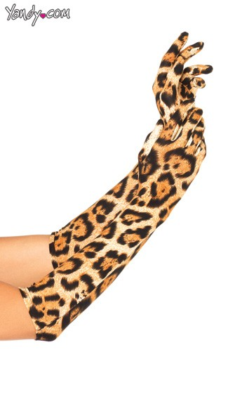 Leopard Elbow Length Gloves, Leopard Gloves, Opera Length Gloves