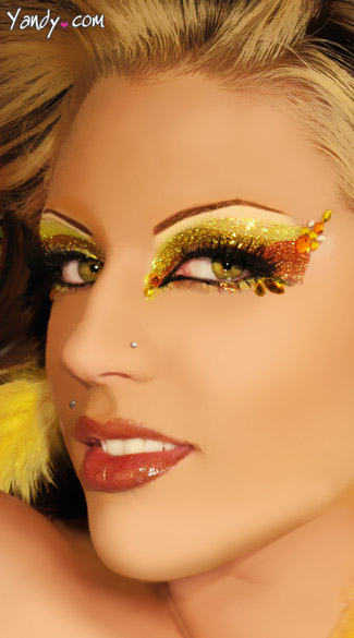 Lush Eye Kit, Yellow Glitter Eye Stickers, Yellow Glitter Eye Art