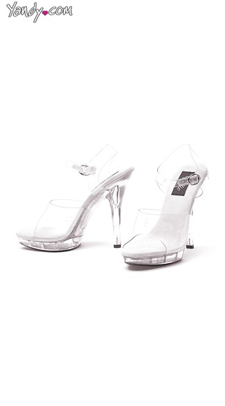 "5"" Heel Clear Sandal, Clear Strap Sandals"
