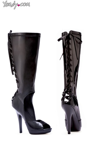 "5"" Sandal Boot With Back Laces, Lace Up Knee High Boot"