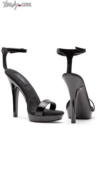 "5"" Heel Black Sandal, Black Shoes with Ankle Strap"