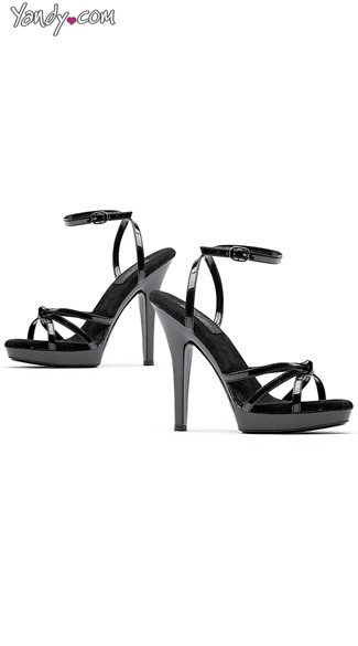 "5"" Black Strappy Sandal, Sandal with a 5 Inch Heel"