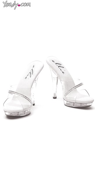 "5"" Clear Sandal With Rhinestones, Clear Rhinestone Shoes"