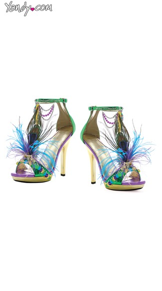 "5"" Mardi Gras Sandals, Gold Feather Heels"