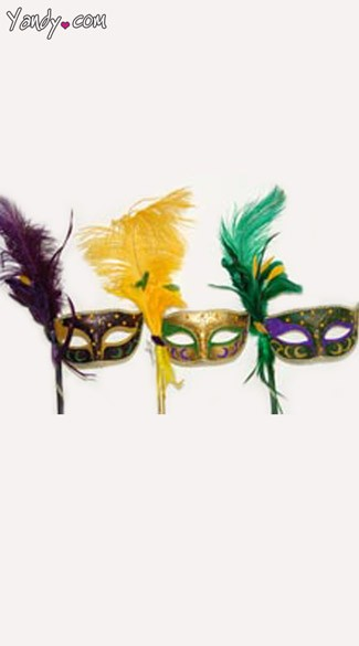 Mardi Gras Mask with Feathers, Feathered Mardi Gras Venetian Mask