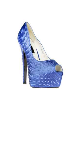 Satin Mini Rhinestone Pump with Concealed Platform