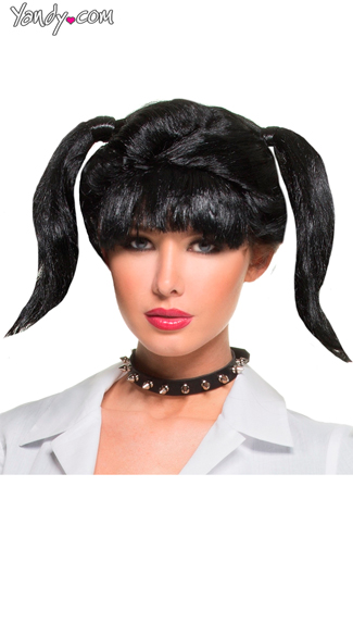 Abby\'s Wig, Abby NCIS Black Wig, Black Wig With Pigtails