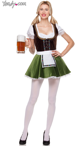 Sultry Beer Maiden Costume, Sexy Beer Girl Dress Costume, Oktoberfest Beer Costume