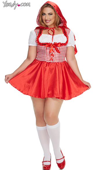 Plus Size Hooded Red Damsel Costume, Plus Size Sexy Red Fairytale Costume, Plus Size Red Riding Halloween Costume