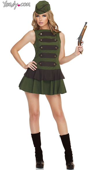 Sexy Steampunk Soldier Costume, Adult Military Costumes, Women Steampunk Costumes