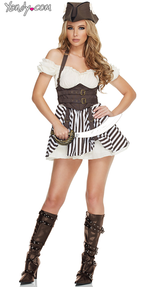 Flirtatious Steampunk Pirate Costume, Sexy Pirate Costumes, Flirty Steampunk Costumes