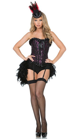 Burlesque Babe Costume, Sexy Burlesque Costume, Purple and Black Burlesque Costume