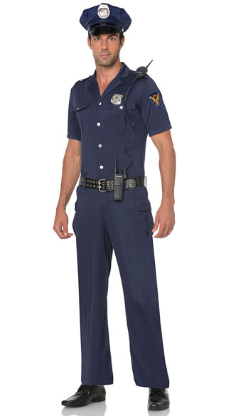 Men\'s Blue Police Officer Costume, Men\'s Cop Costume, Men\'s Police Costume