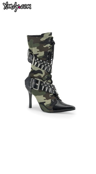 "3 3/4"" Heel Camo Military Boot with Bullet Accents, Sexy Camo Military Boot"