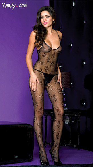 Daisy Lace Bodystocking, Black Daisy Print Body Stocking