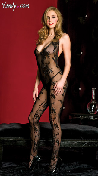 Halter Top Bodystocking, Leaf Print Bodystocking