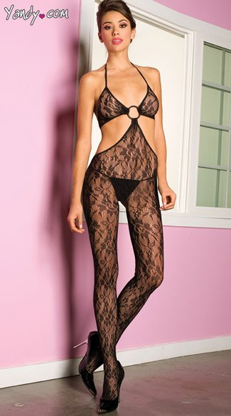 O Ring Lace Bodystocking, Open Side Body Stocking