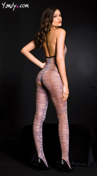 Low Cut Zebra Bodystocking