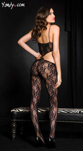 Open Front Lace Bodystocking