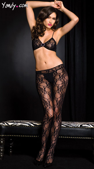 Open Front Lace Bodystocking, Triangle Top Bodystocking
