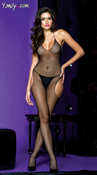 Cut Out Side Bodystocking, Suspender Net Bodystocking