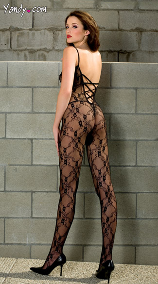 Lace Crossed Back Bodystocking