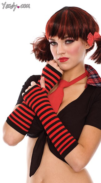 Black and Red Striped Gloves