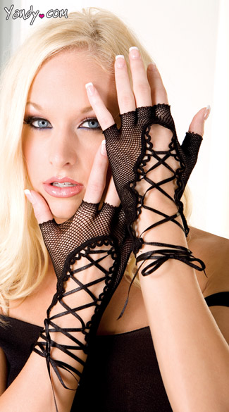 Lace-Up Fishnet Gloves