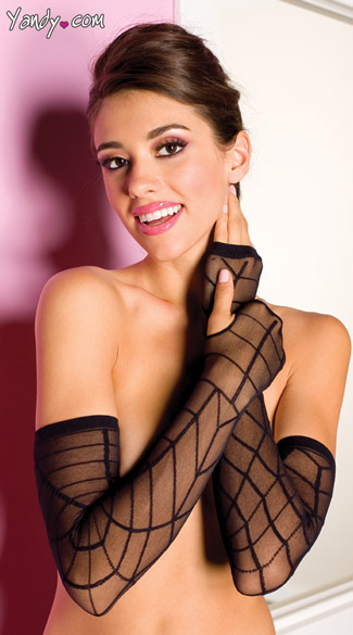 Fingerless Web Gloves, Black Mesh Spiderweb Gloves
