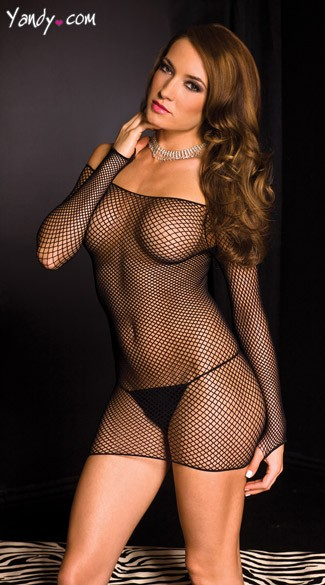 Diamond Net Long Sleeve Chemise