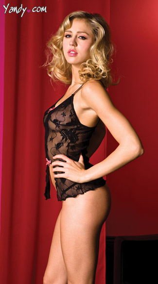 Black Lace Mini Chemise and Thong