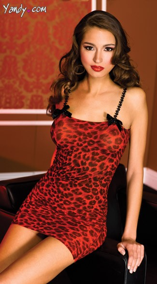 Red Leopard Chemise, Spaghetti Strap Chemise