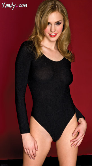 Black Opaque Teddy, Black Long Sleeve Teddy, Essential Bodysuits