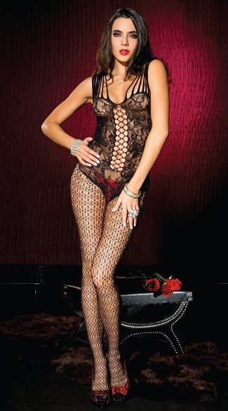 Shredded Strap Floral Lace Bodystocking