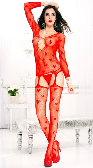 Heart And Fishnet Suspender Bodystocking, Bodystocking with Attached Garters, Heart Bodystocking