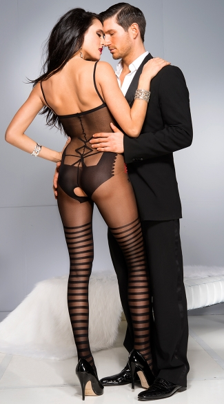 Teddy with Striped Thigh Highs Bodystocking