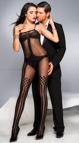 Opaque Teddy and Thigh Highs Bodystocking