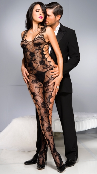 Rose Shredded Bodystocking, Lace Bodystocking, Open Side Lace Bodystocking
