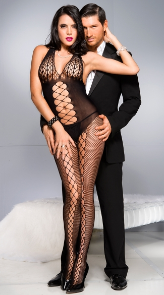 Honeycomb Bust Bodystocking, Black Fishnet Bodystocking, Crotchless Bodystocking