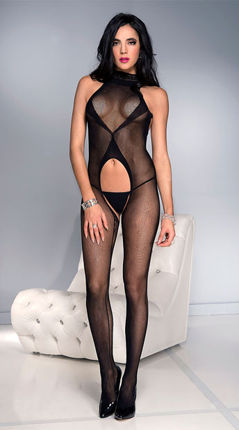 High Neck Criss-Cross Bodystocking, Fishnet Bodystocking - Yandy.com